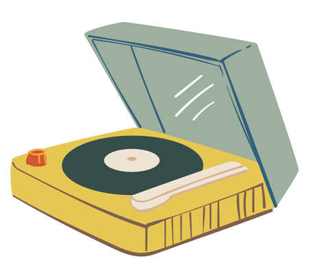 Listening music on vinyl plate with player vector