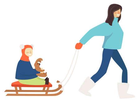 Mother pulling sled with child holding plush bunny Illusztráció
