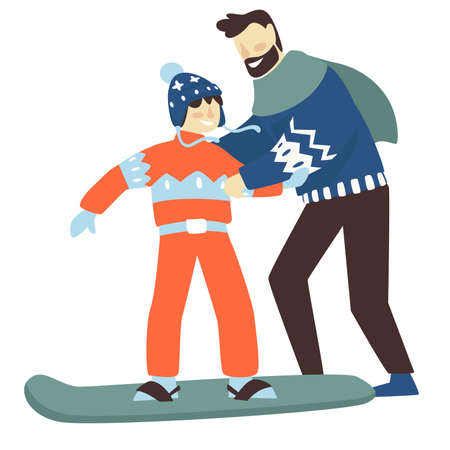 Dad teaching son to snowboard, winter sports vector 向量圖像