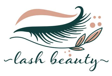 Lash beauty studio procedures for eyelashes extension vector Vettoriali