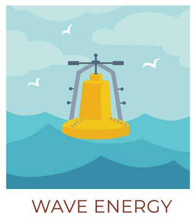 Wave energy sustainable renewable eco friendly resources vector