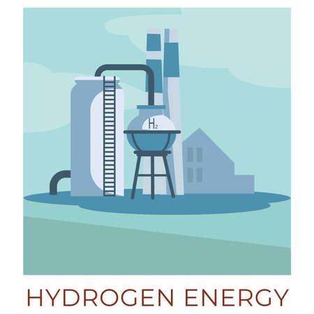 Hydrogen energy plant generating power, eco friendly technologies 矢量图片