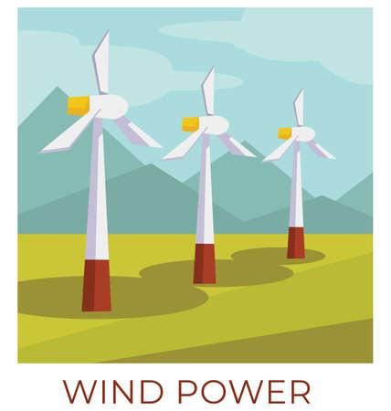 Wind power station in field, ecological energy vector Ilustração