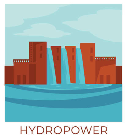 Hydropower ecologically friendly energy and sustainable power vector