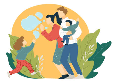 Family spending time together blowing soap bubbles vector