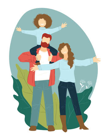 Happy mother and father carrying child, family weekends Ilustração
