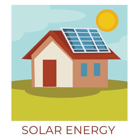 Solar energy accumulating natural resources for electricity usage Ilustração
