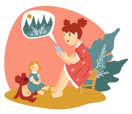 Girl reading story to plush bear and doll Illusztráció