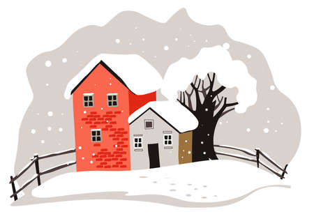 Houses and trees covered with snow, winter landscape