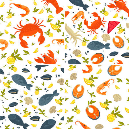 Fish and crab seafood seamless patterns lobster and squid