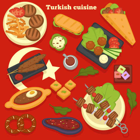 Turkish cuisine meals and dishes culinary recipes traveling Illustration