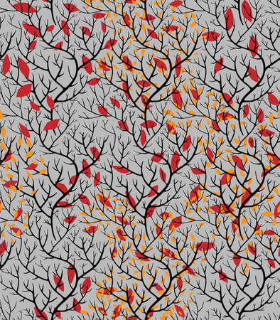 Autumn branches with dry leaves twigs seamless pattern