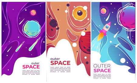 Outer space comets and launching rockets banners vector Vettoriali