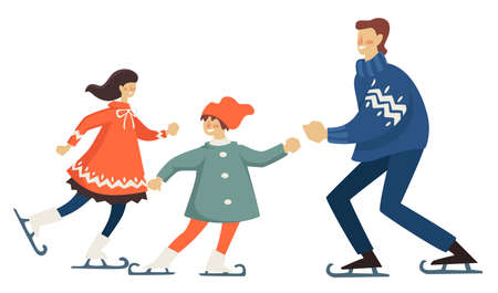 Father and mother ice skating with kid, family vacation