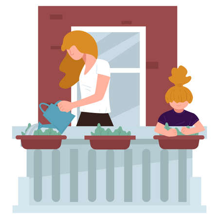 Kid helping mom with home chores, watering flowers