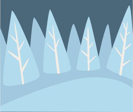 Winter landscape of pine forest with snowy hills Illusztráció