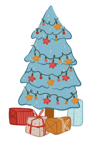 Pine tree decorated with garlands and presents vector Vettoriali
