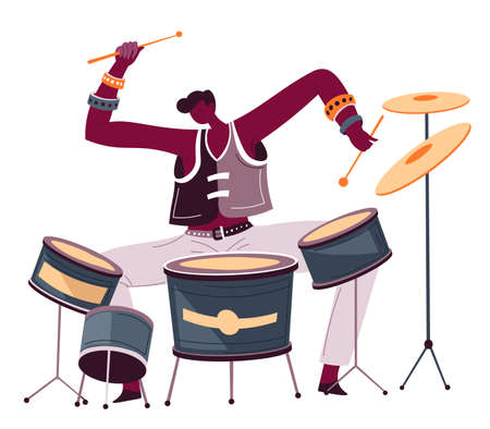 Professional drummer playing songs, musician artist performing melodies