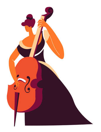 Cello player with violoncello, classic music performer vector