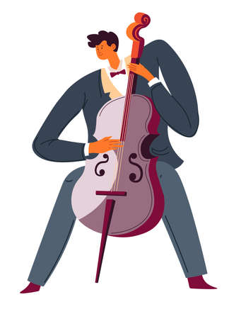 Violoncello player, classic music performer, cello instrument vector