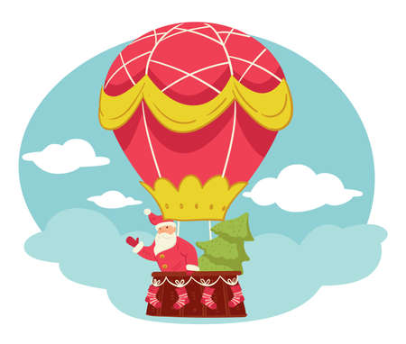 Santa claus and pine tree flying in hot air balloon. Christmas celebration, greetings with winter holidays. Grandfather frost and spruce above clouds. Xmas personages in airship, vector in flat
