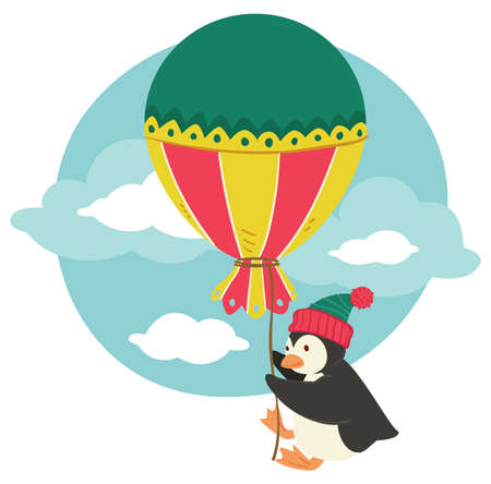 Penguin wearing kitted hat holding big balloon Vettoriali