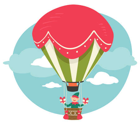 Elf with presents for Christmas, hot air balloon 免版税图像 - 157486205