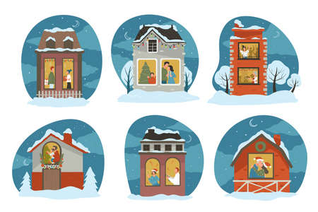 People celebrating Christmas at home, snowy houses