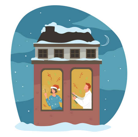 Man and woman celebrating Christmas holiday vector Vettoriali