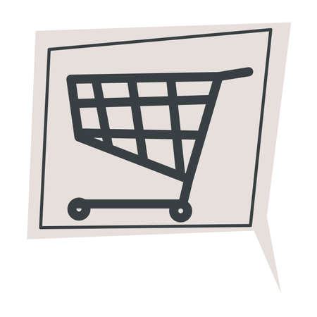 Shopping cart trolley sign in chatting box vector 向量圖像