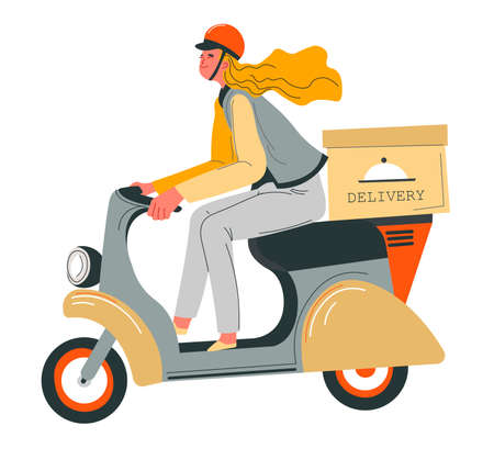 Food delivery, woman riding moped scooter with box
