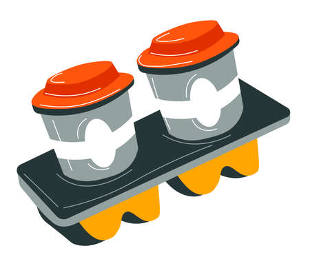 Aromatic coffee in cup holder, takeaway beverages