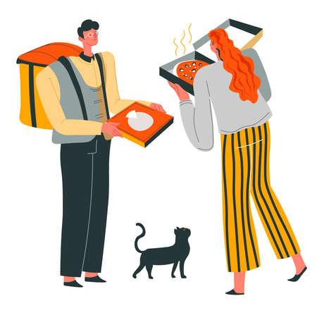 Pizza delivery for customer, deliverer giving food 矢量图像