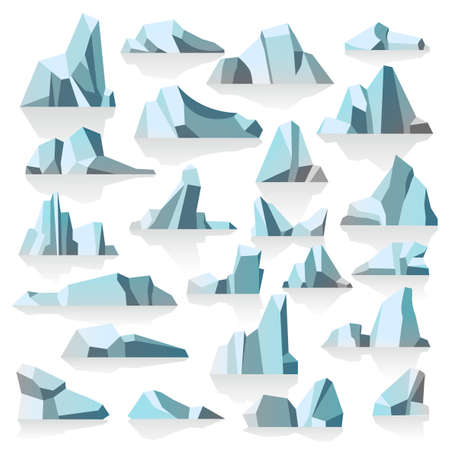 Iceberg with reflection or shade, icy peaks vector