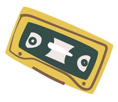 Old audio cassette, recording of 90s, music tape Ilustração