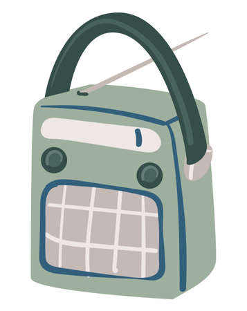 Retro radio with antenna and buttons player vector Vettoriali
