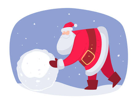 Building snowman outdoors, Santa Claus on Xmas Vettoriali