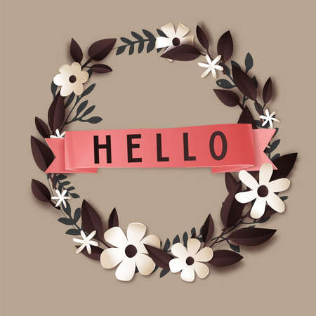 Hello floral wreath with flower and foliage vector