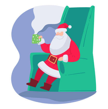 Santa claus drinking hot tea beverages vector