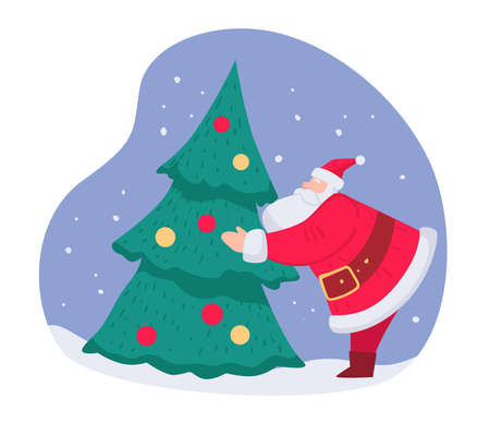 Santa Claus decorating Christmas pine tree vector Vettoriali