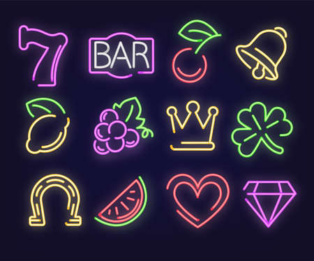 Neon signs glowing with colorful light, illuminated signboards