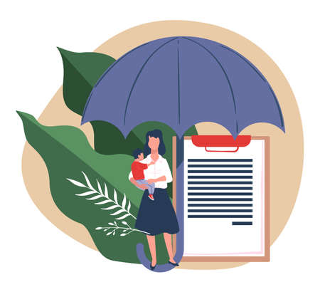 Family members life insurance, mom and son under umbrella