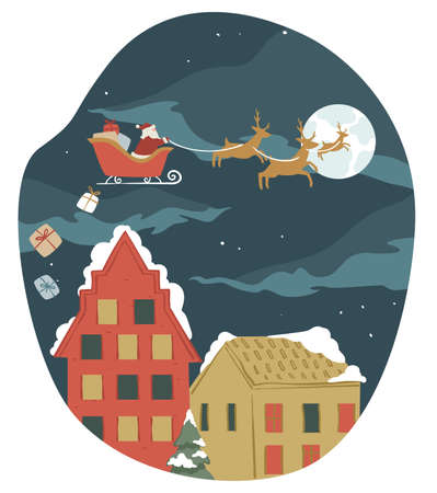 Santa Claus riding flying sleigh giving presents vector