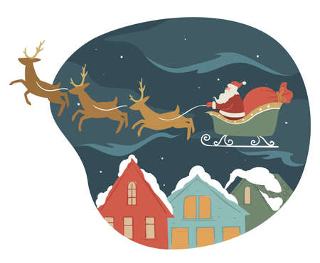 Santa Claus on sled with reindeers giving presents for xmas