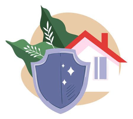 Real estate insurance, house and shield with foliage