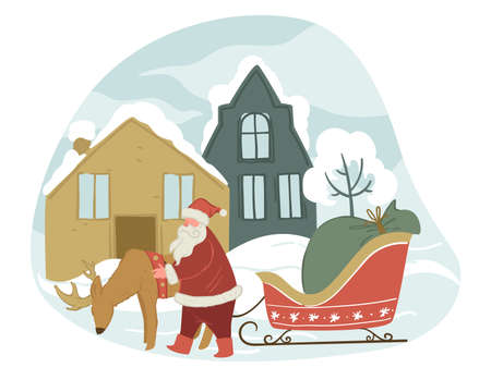 Santa Claus and reindeer with sled in winter city