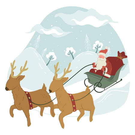Santa Claus riding on sled with reindeers, xmas holidays