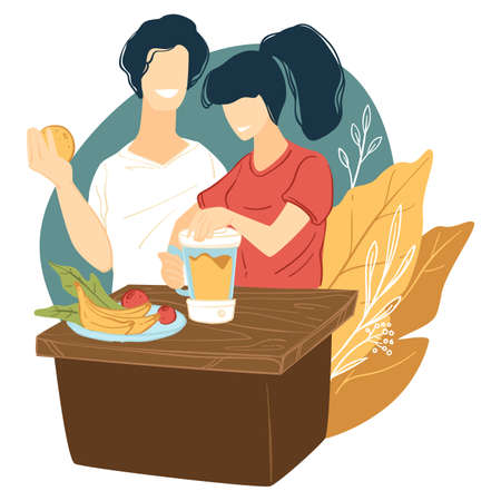 Couple making fresh smoothie of tropical fruits vector Vettoriali