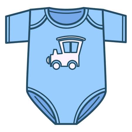 Newborn bodysuit for boy, clothes for kids vector