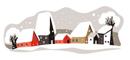 Winter cityscape, houses rooftops covered with snow vector